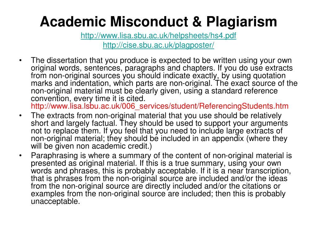 Academic Misconduct & Plagiarism