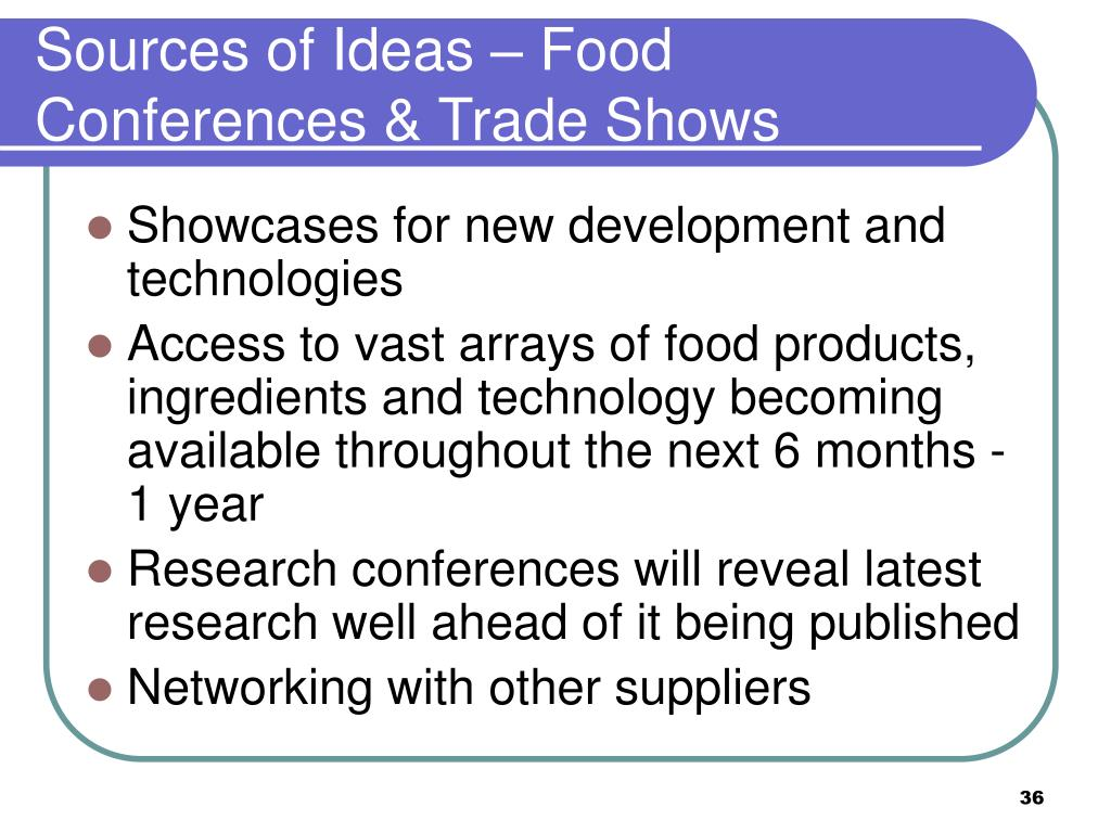 Sources of Ideas – Food Conferences & Trade Shows