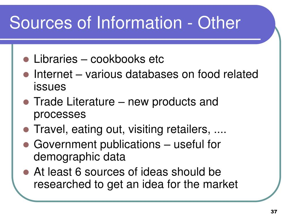 Sources of Information - Other