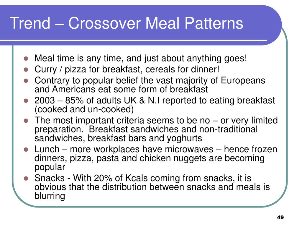 Trend – Crossover Meal Patterns