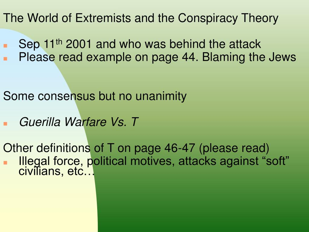 The World of Extremists and the Conspiracy Theory
