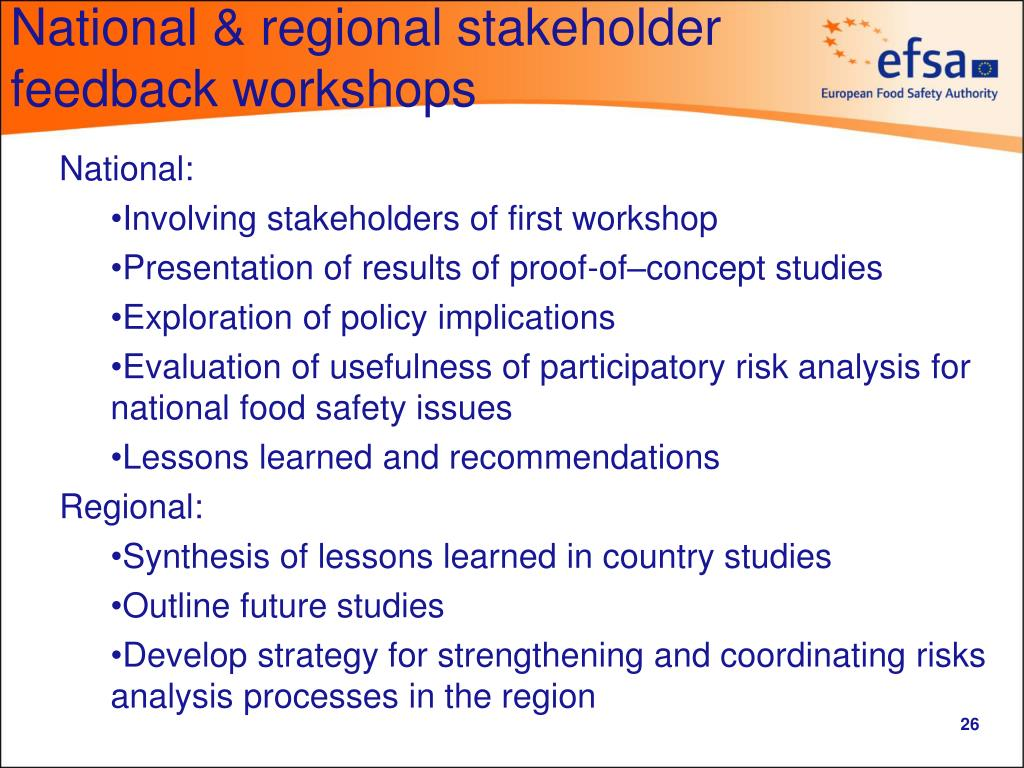 National & regional stakeholder feedback workshops