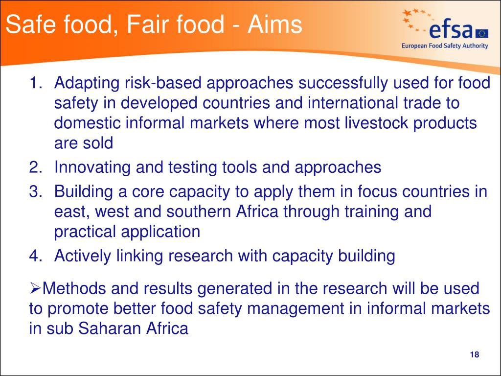 Safe food, Fair food - Aims