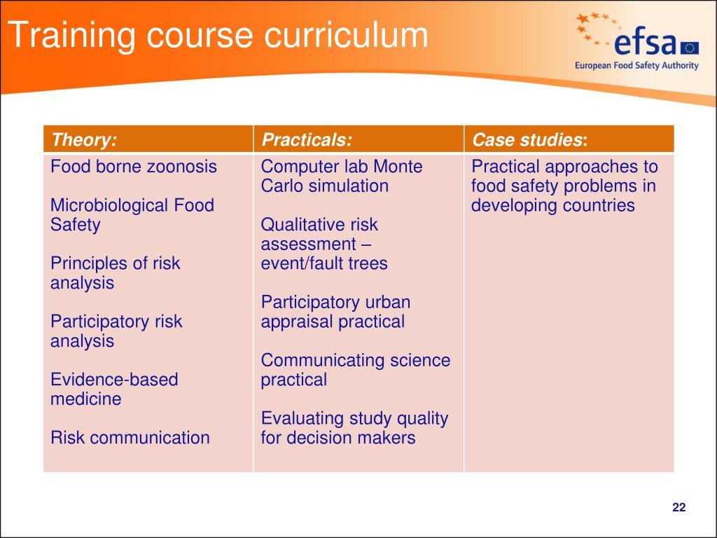 Training course curriculum