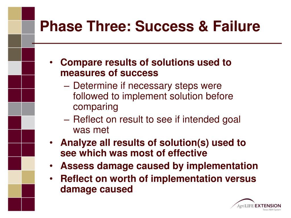 Phase Three: Success & Failure