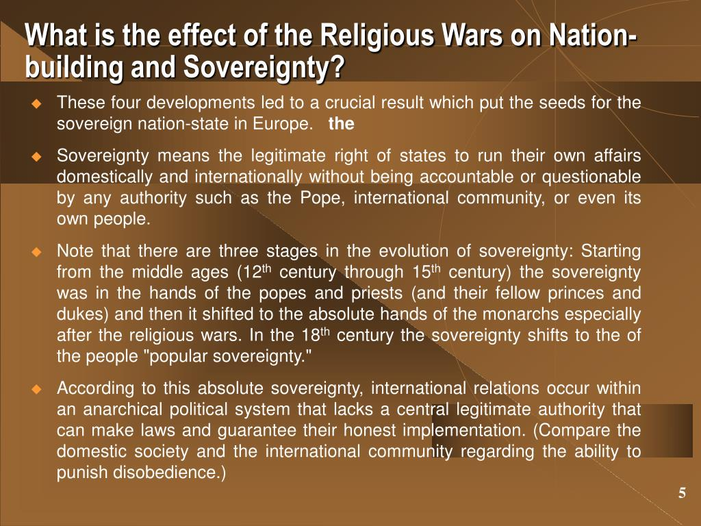 What is the effect of the Religious Wars on Nation-building and Sovereignty?