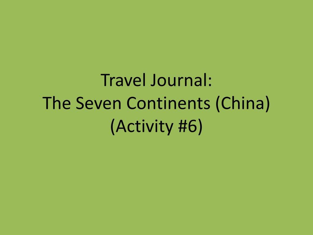 Travel Journal: