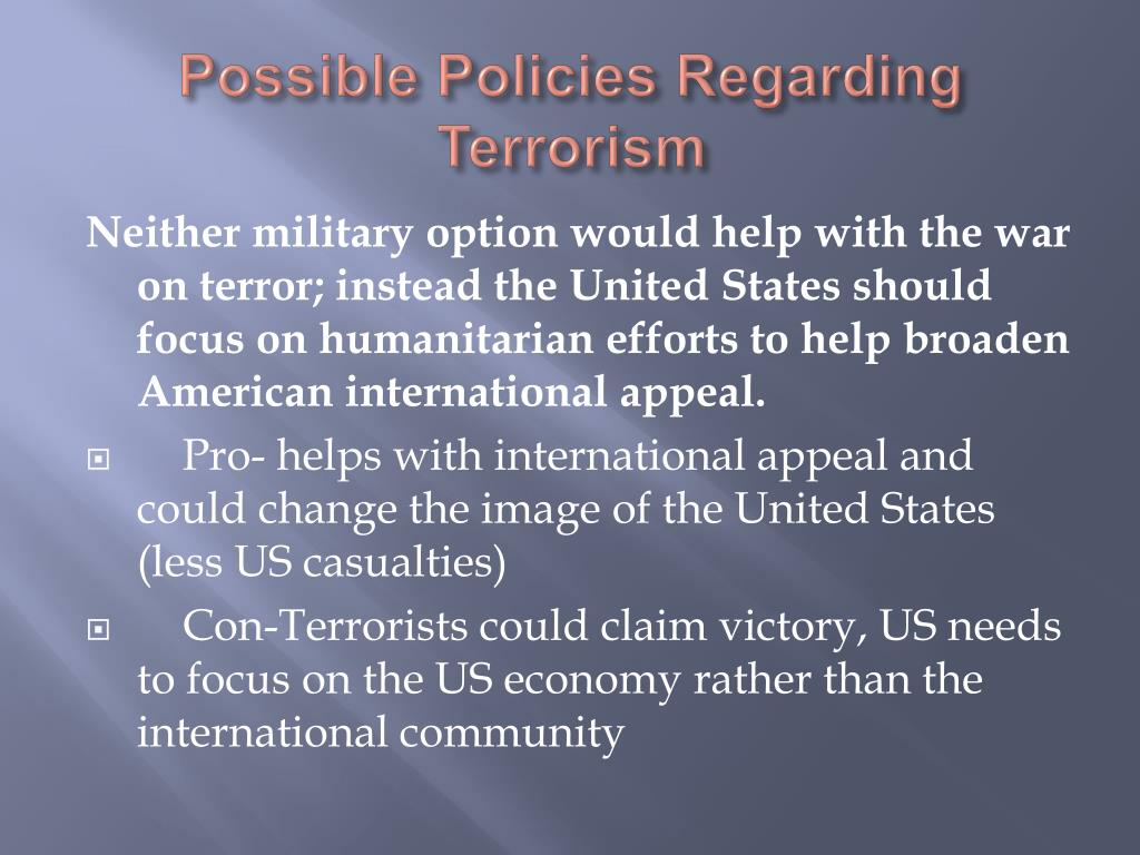 the issue of terrorist threat and the need for war preparation in the united states Islamist terrorism from 1945 to the death of osama bin  provoke an apocalyptic war with the united states and  troops in preparation for another war,.
