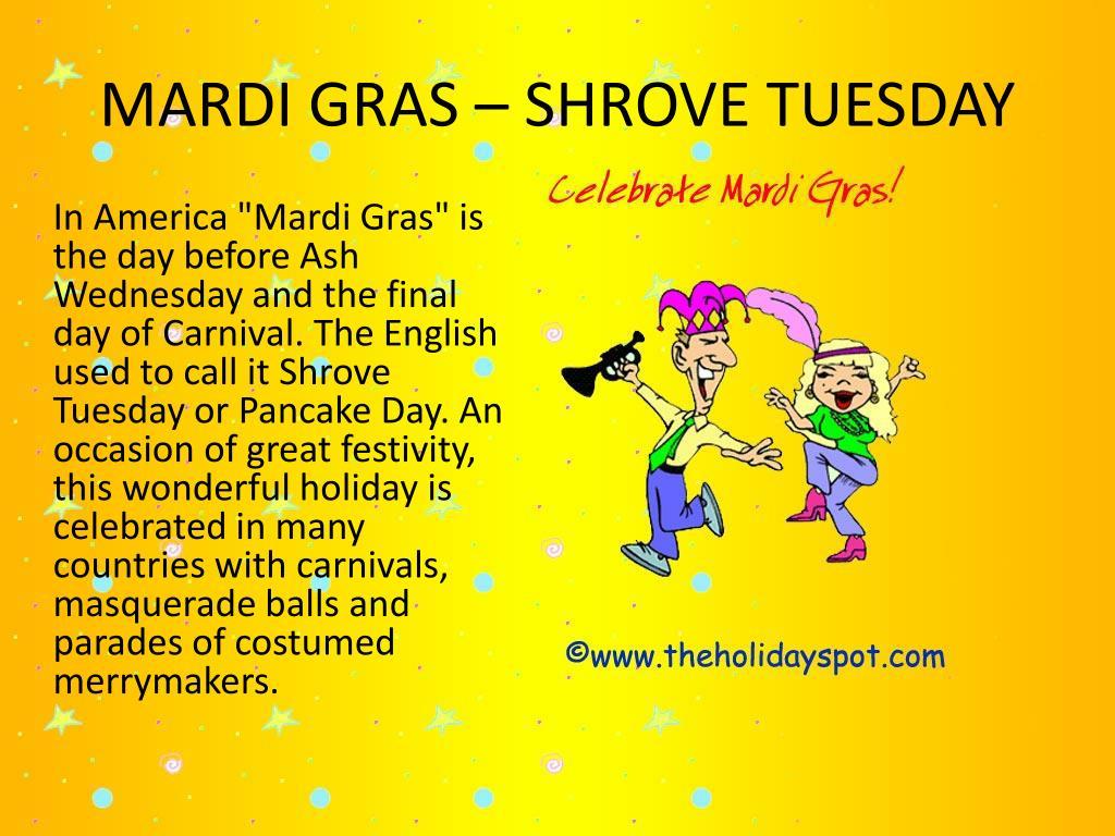 MARDI GRAS – SHROVE TUESDAY