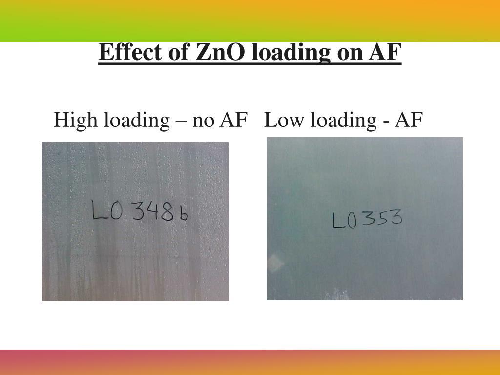 High loading – no AF   Low loading - AF