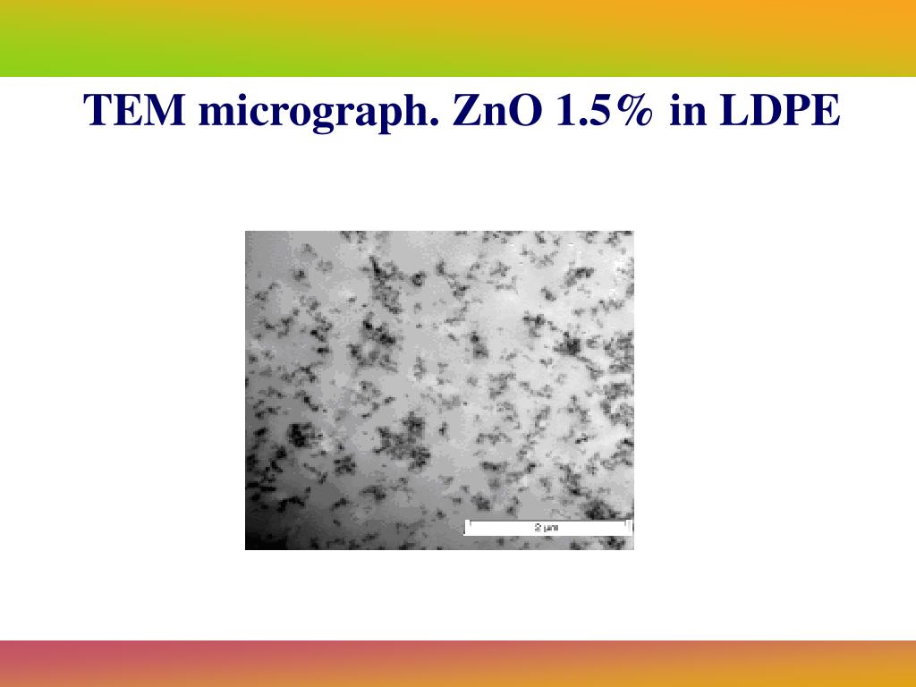 TEM micrograph. ZnO 1.5% in LDPE