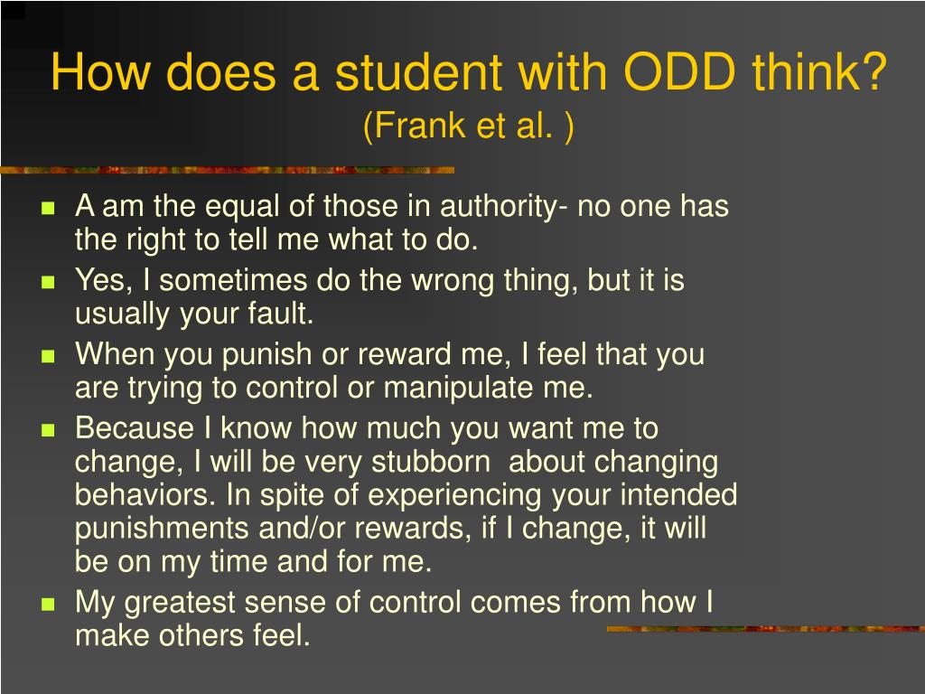 How does a student with ODD think?