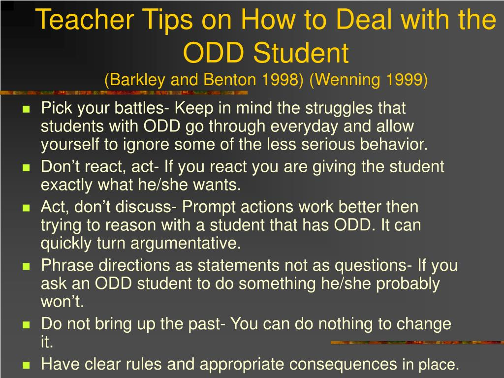 Teacher Tips on How to Deal with the ODD Student