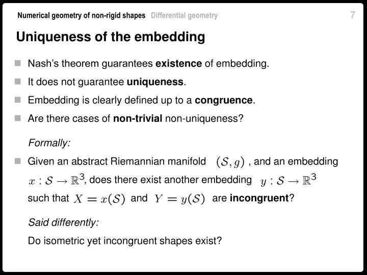 Uniqueness of the embedding