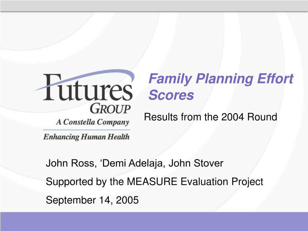 Family Planning Effort Scores