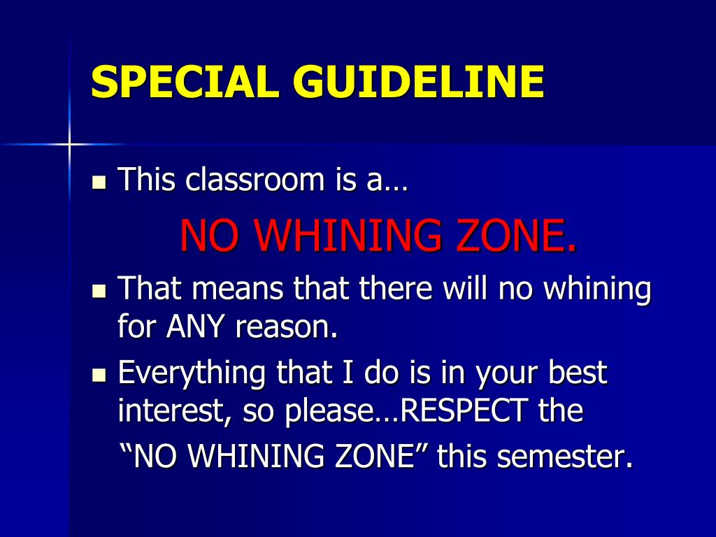 SPECIAL GUIDELINE