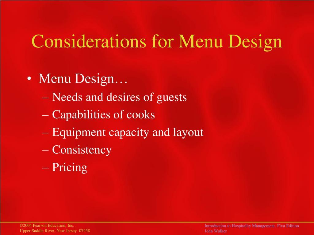 Considerations for Menu Design