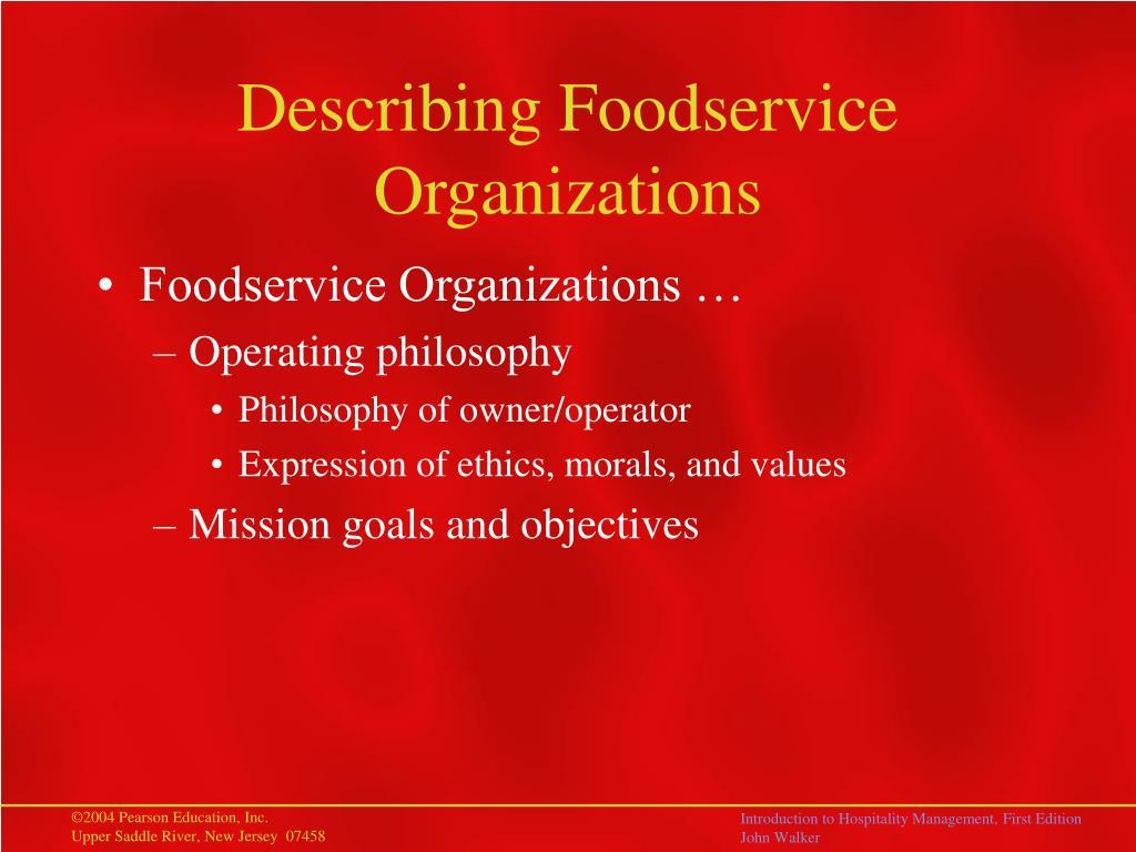 Describing Foodservice Organizations