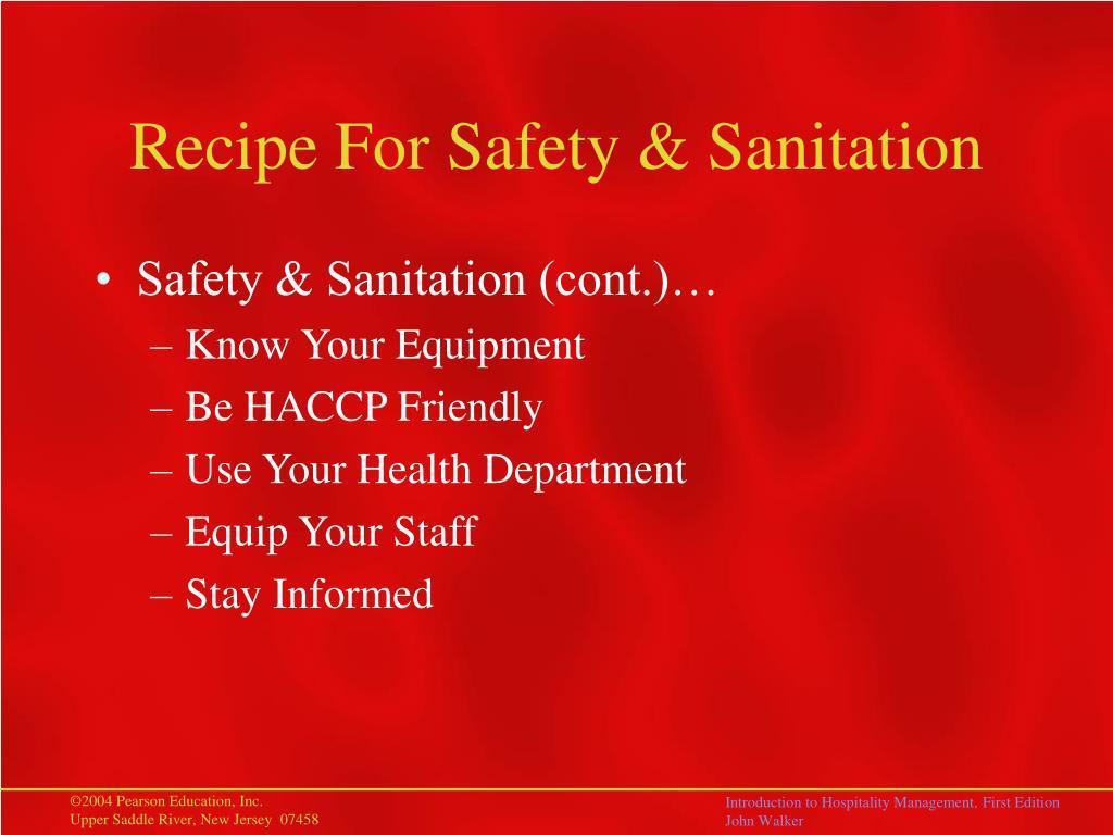 Recipe For Safety & Sanitation