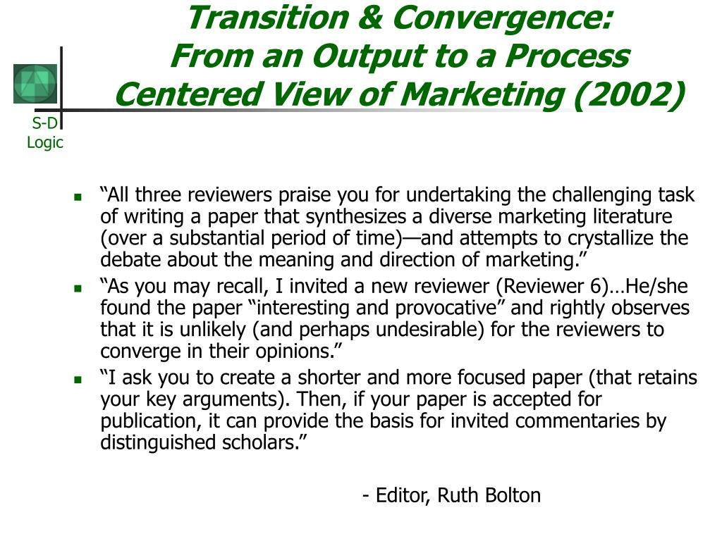 service dominant logic relationship marketing examples