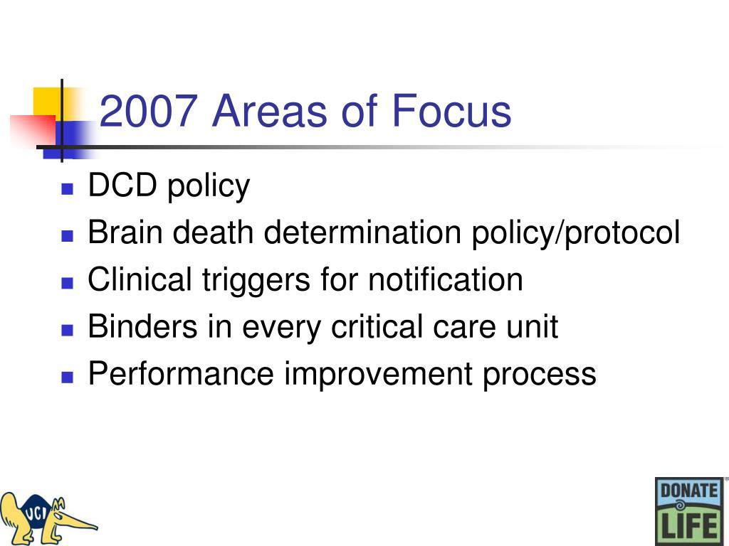2007 Areas of Focus