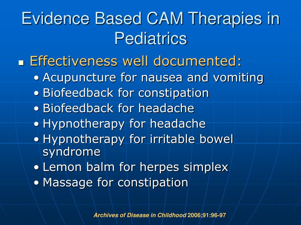 Evidence Based CAM Therapies in Pediatrics