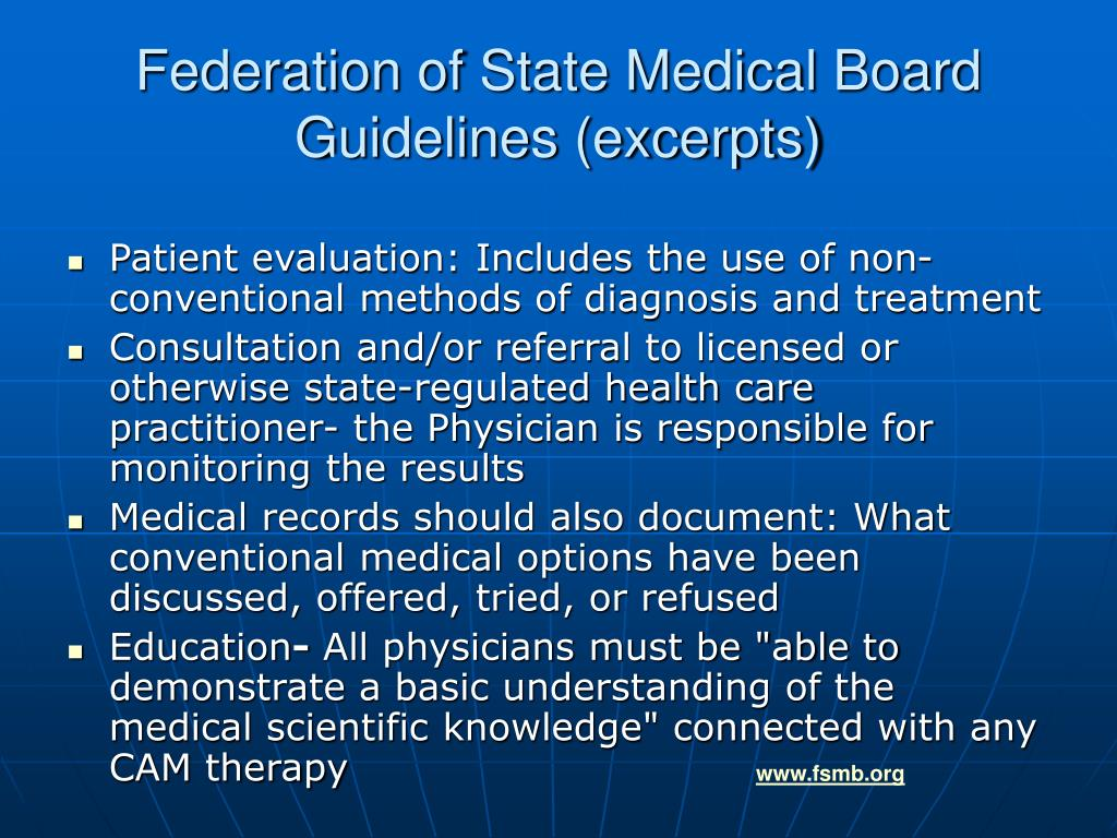 Federation of State Medical Board Guidelines (excerpts)
