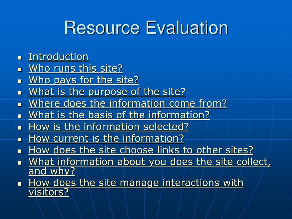 Resource Evaluation