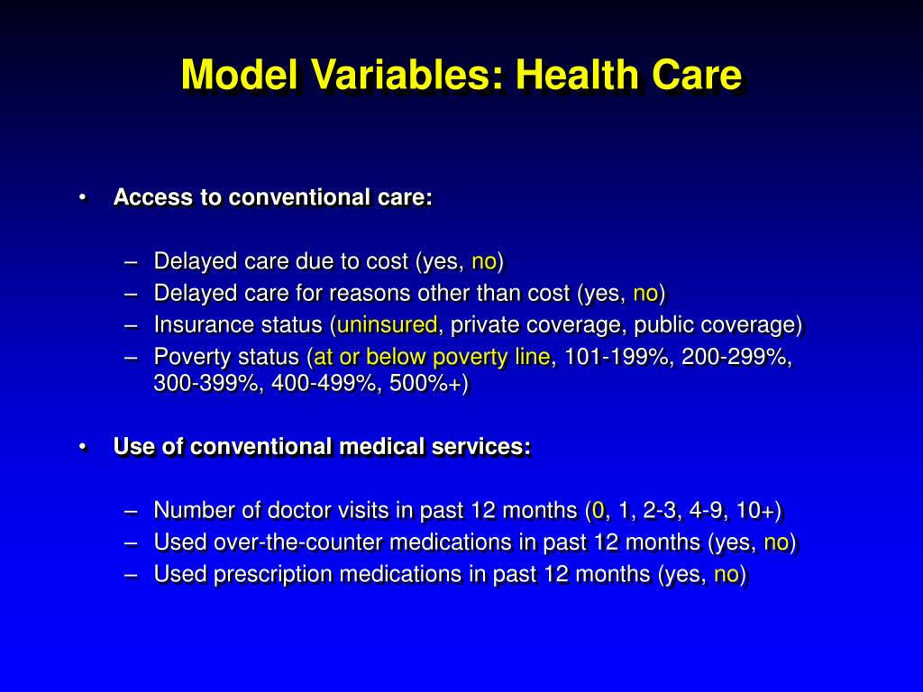 Model Variables: Health Care