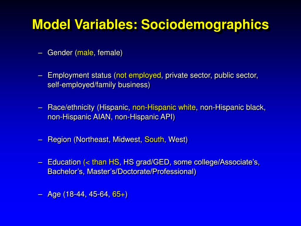 Model Variables: Sociodemographics