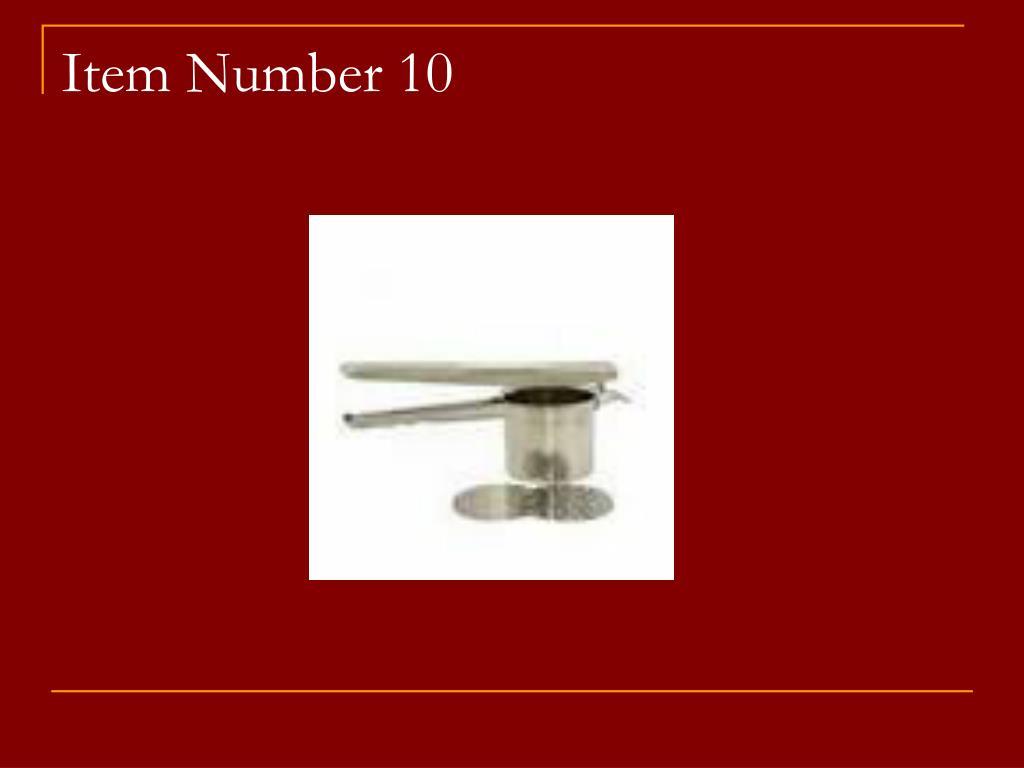 Item Number 10