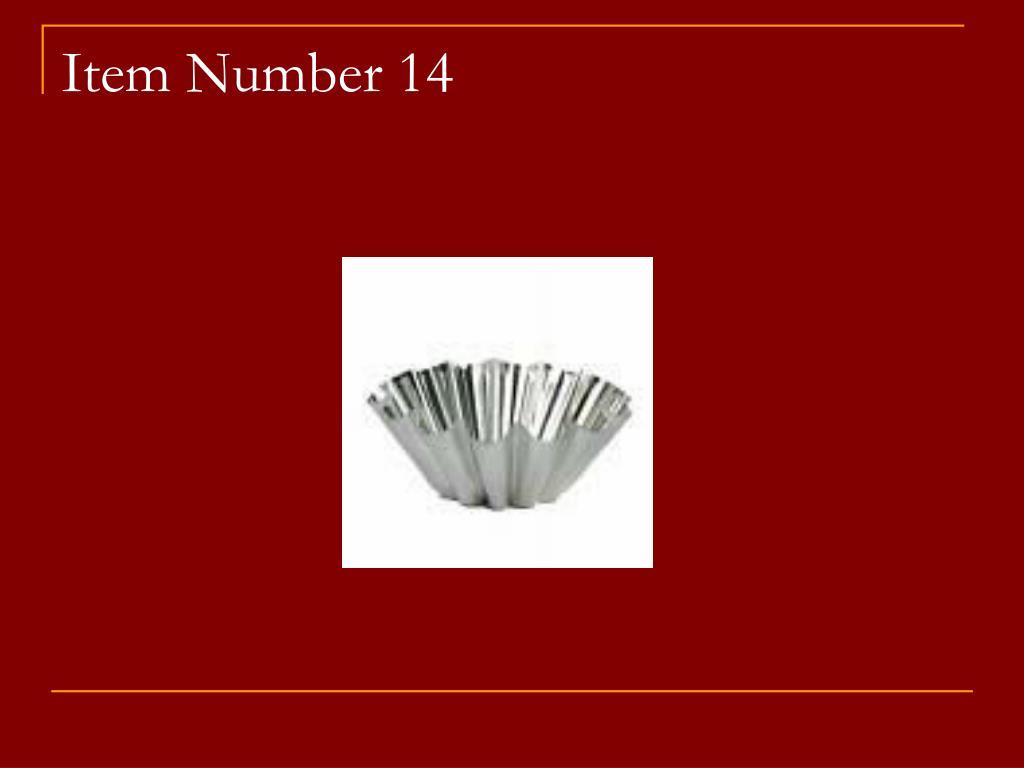 Item Number 14