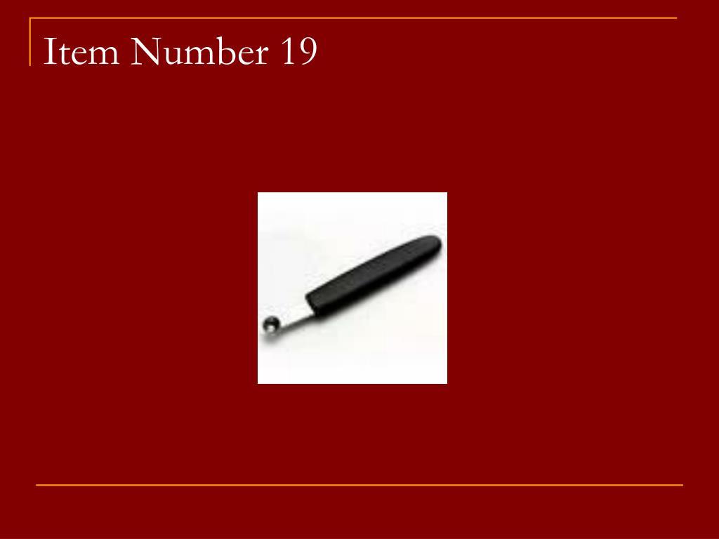 Item Number 19