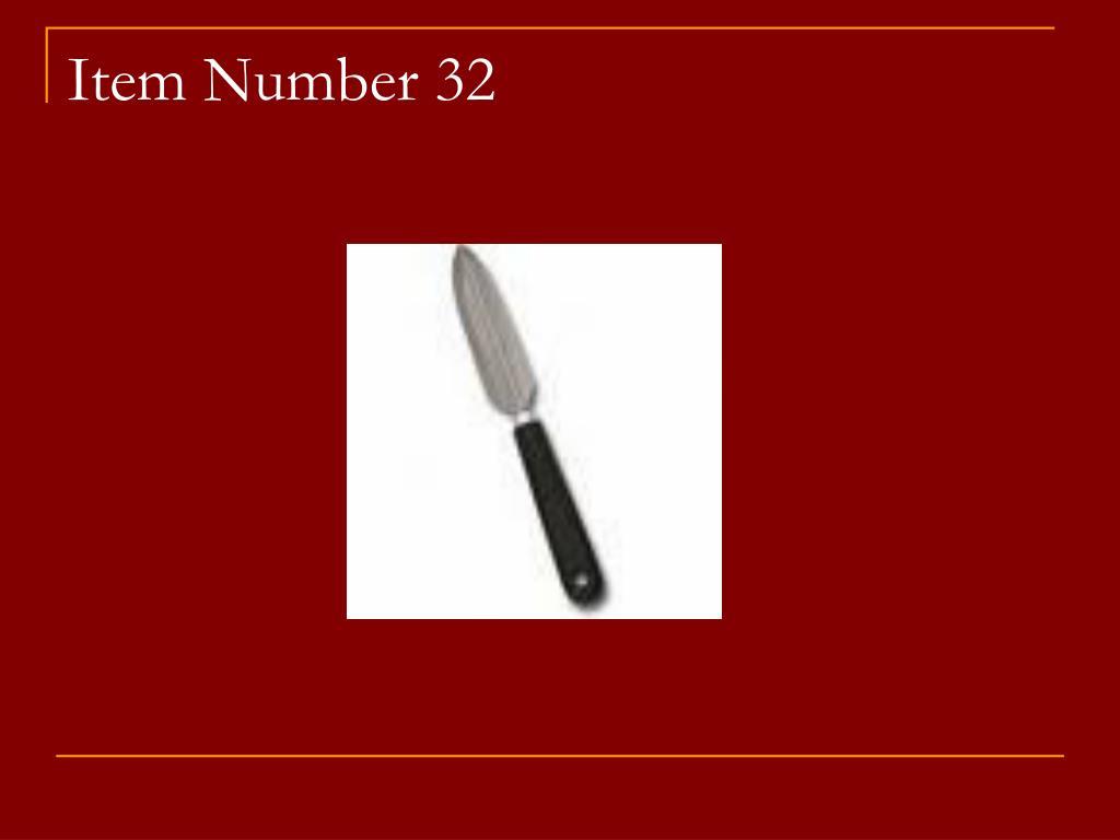 Item Number 32