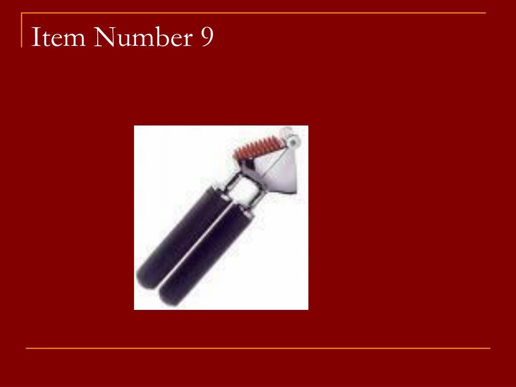 Item Number 9