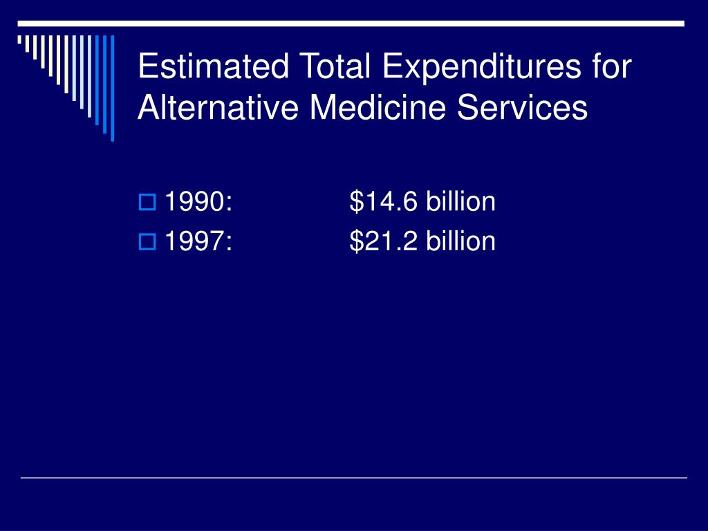 Estimated Total Expenditures for Alternative Medicine Services