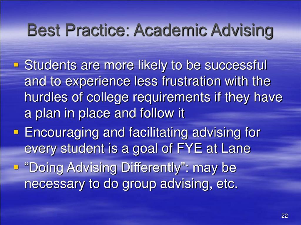 Best Practice: Academic Advising