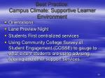 best practice campus climate supportive learner environment