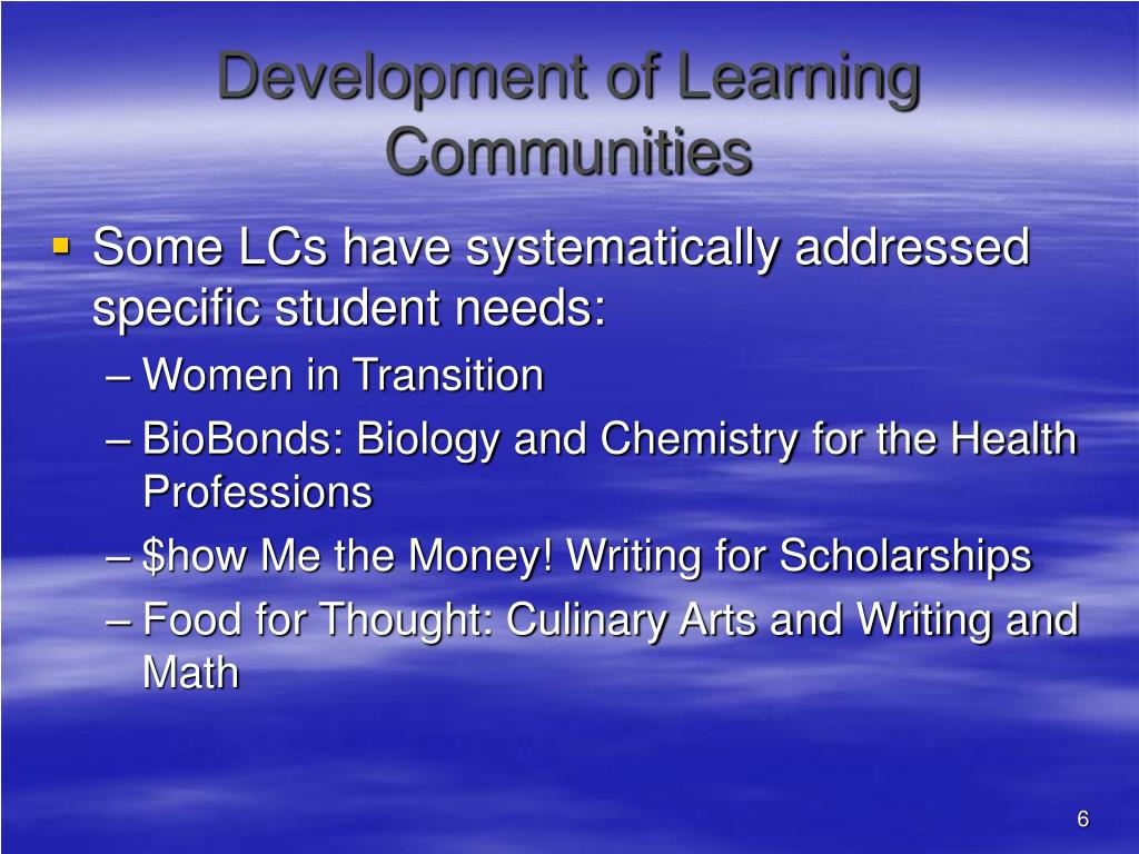 Development of Learning Communities