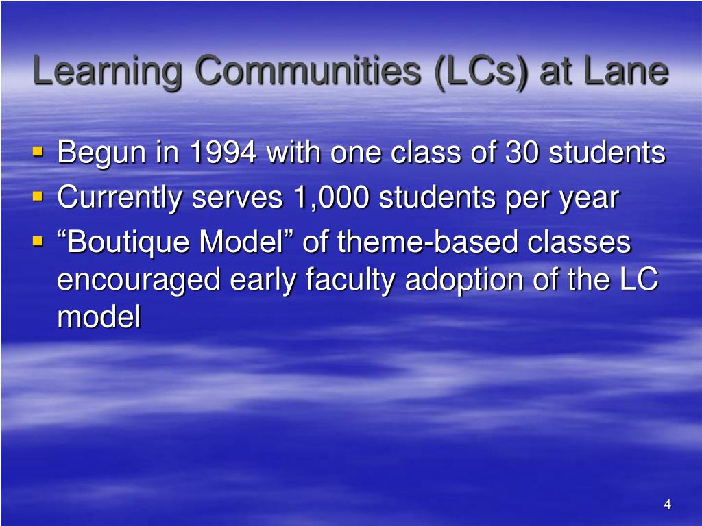 Learning Communities (LCs) at Lane