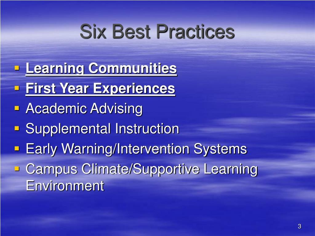 Six Best Practices