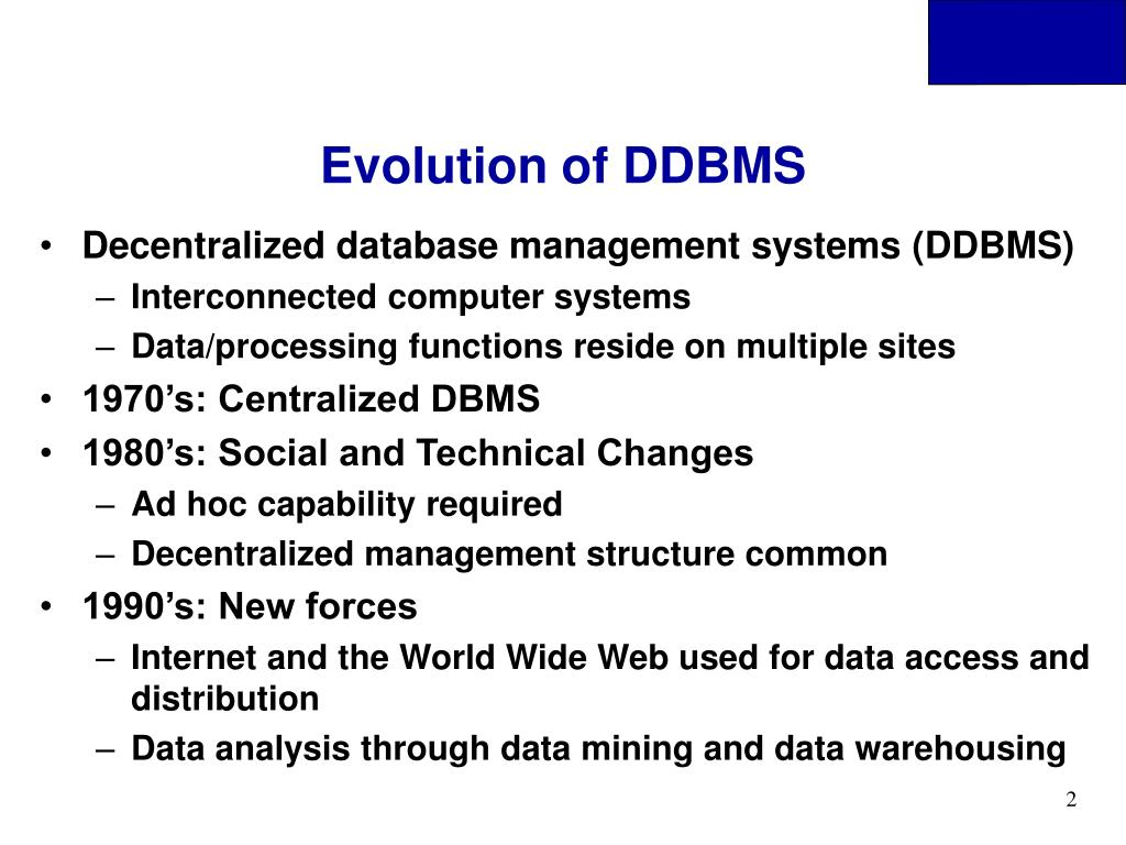 Evolution of DDBMS
