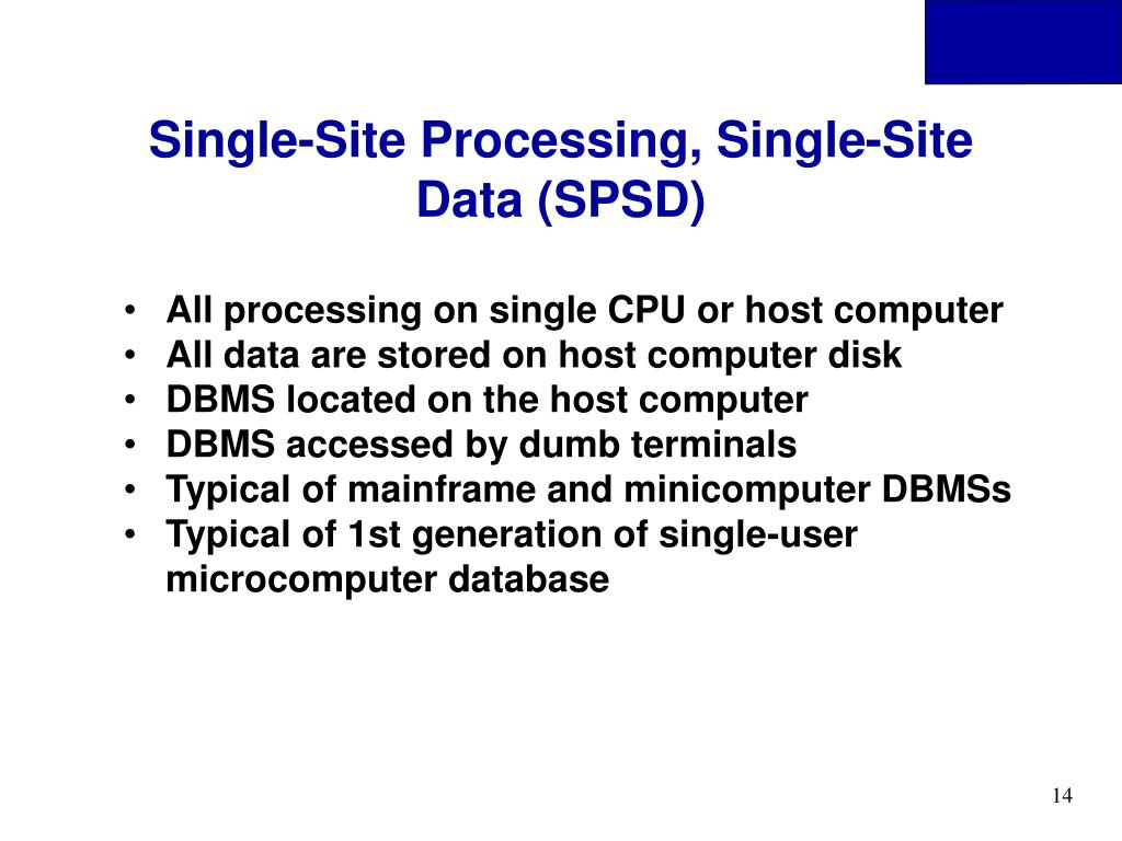 Single-Site Processing, Single-Site Data (SPSD)