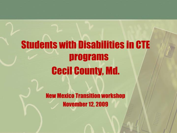 Students with Disabilities in CTE programs