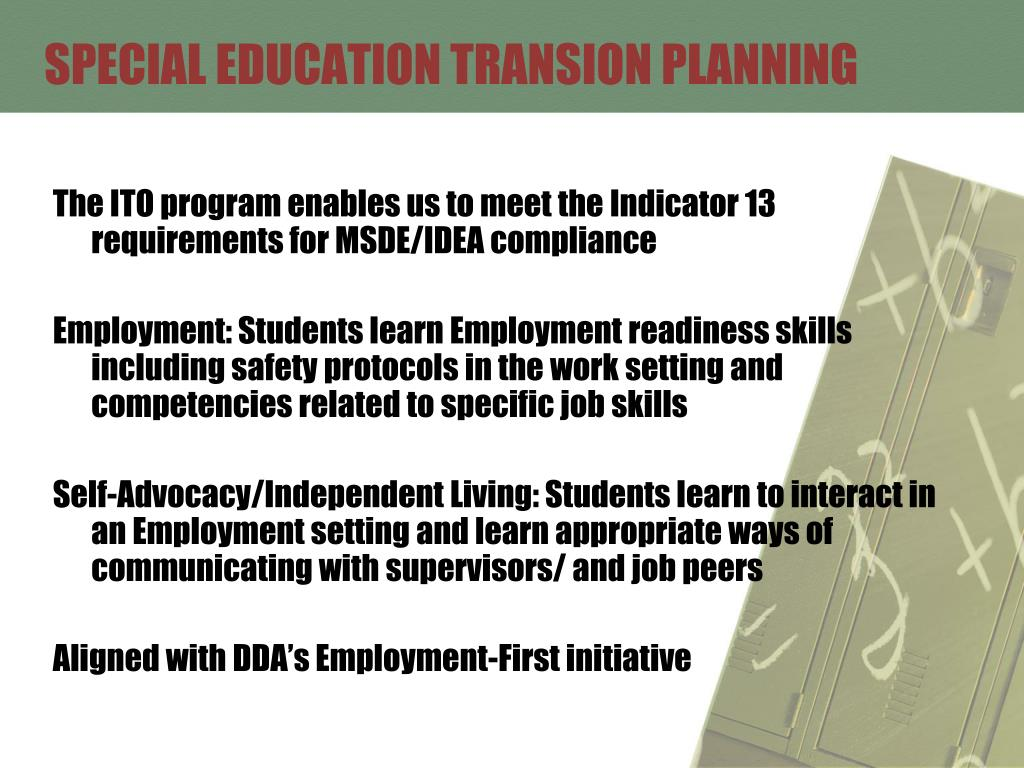 SPECIAL EDUCATION TRANSION PLANNING