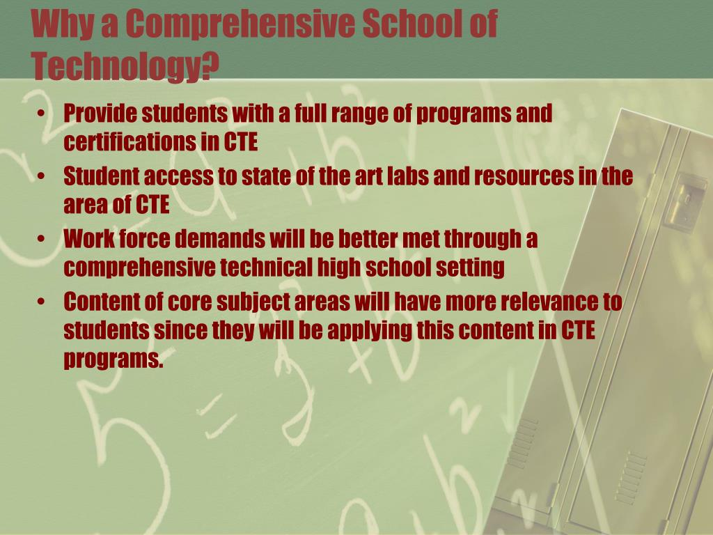 Why a Comprehensive School of Technology?