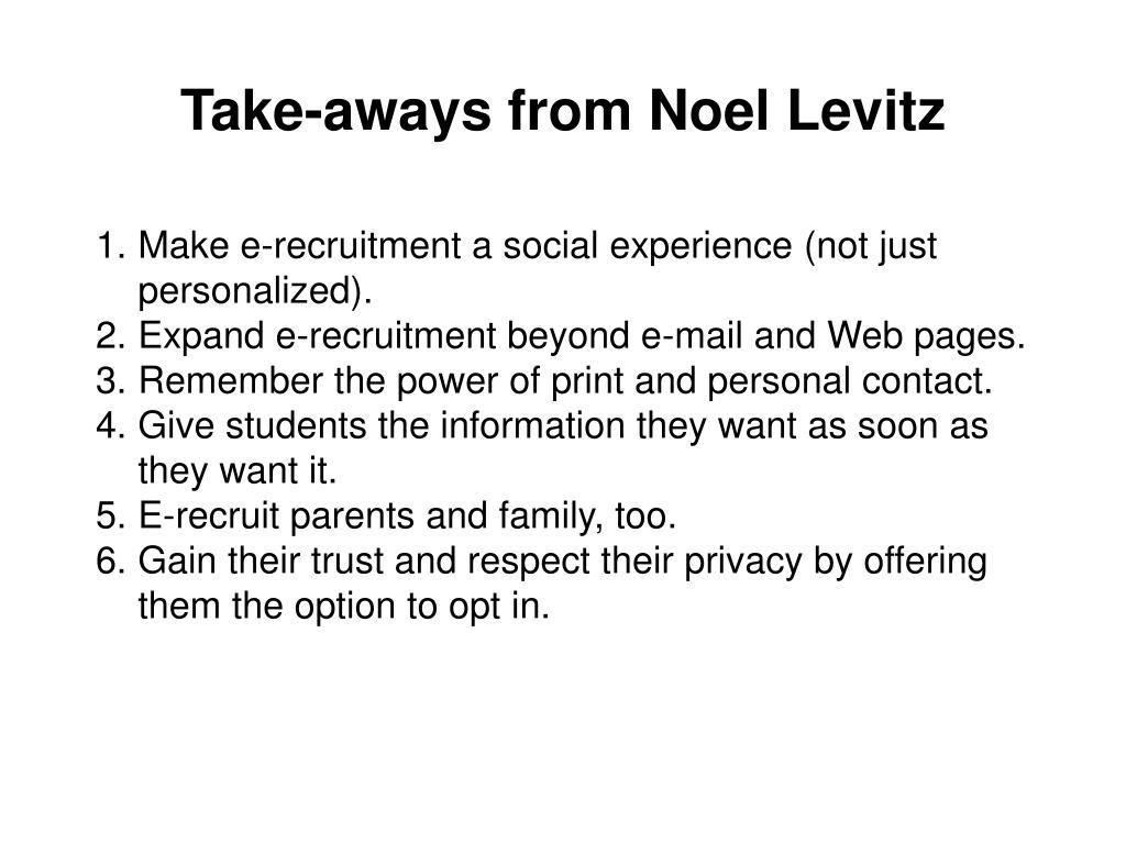 Take-aways from Noel Levitz