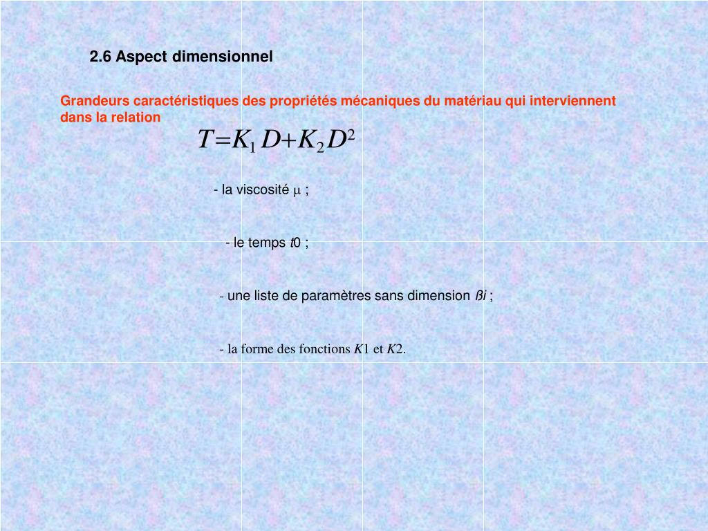 2.6 Aspect dimensionnel