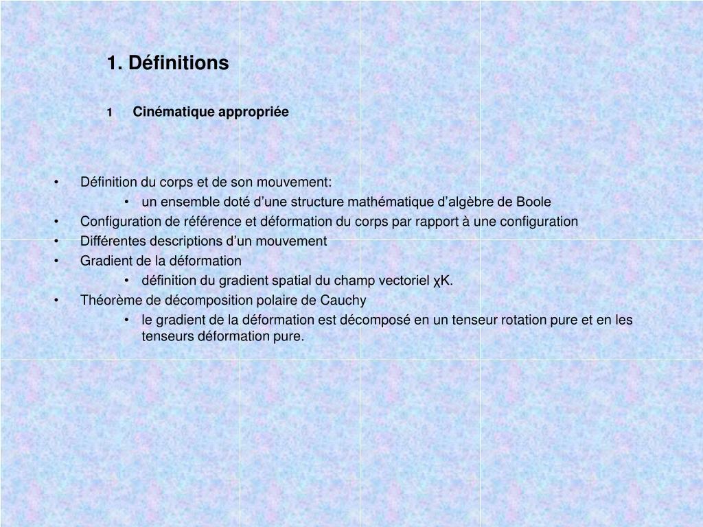 1. Définitions