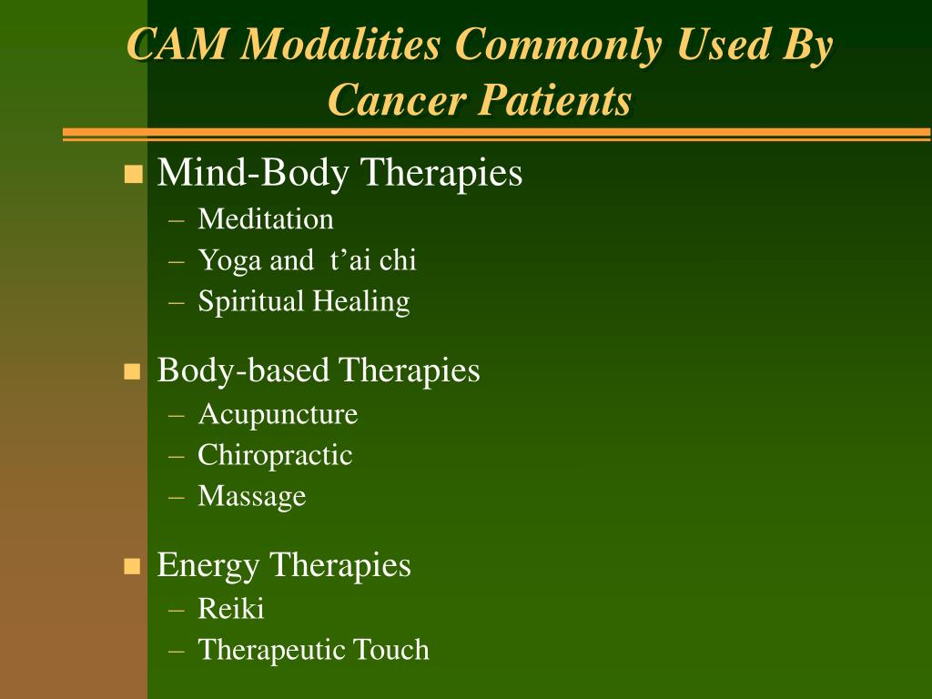 CAM Modalities Commonly Used By Cancer Patients